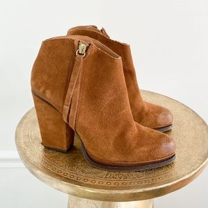 Zara Suede Leather Brown Ankle Booties